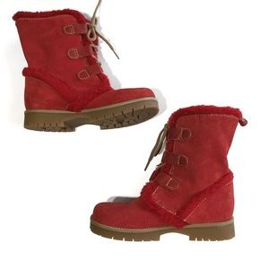 Girls Red Fur Trim Leather Boots
